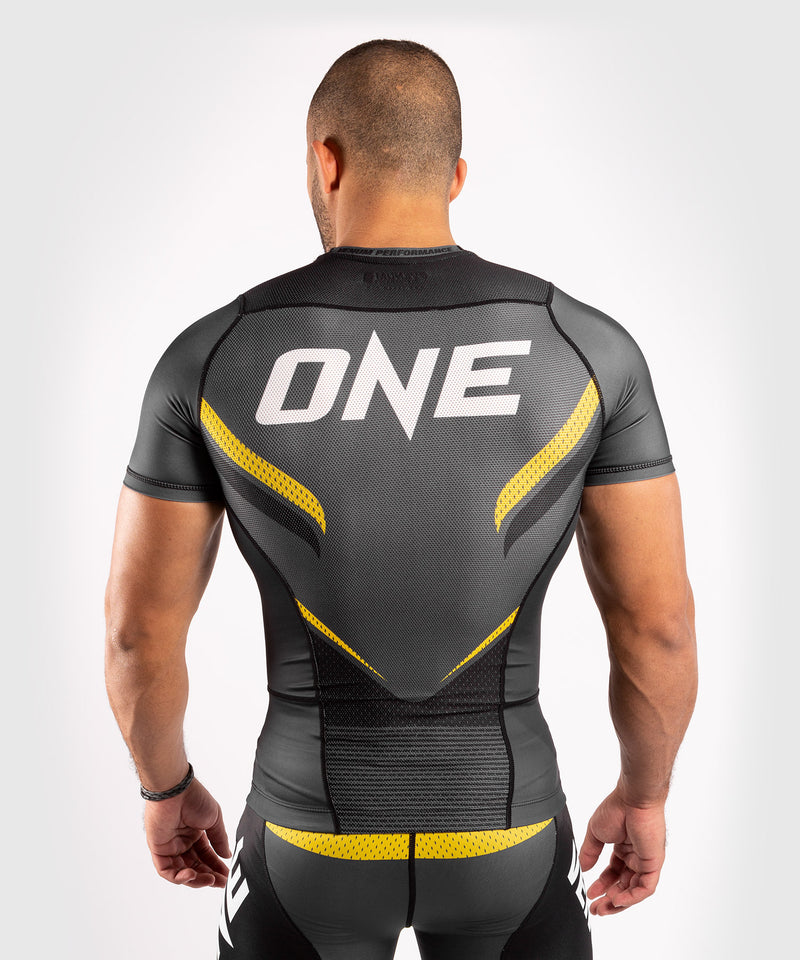 Venum ONE FC Impact Rashguard - short sleeves - Grey/Yellow - picture 2
