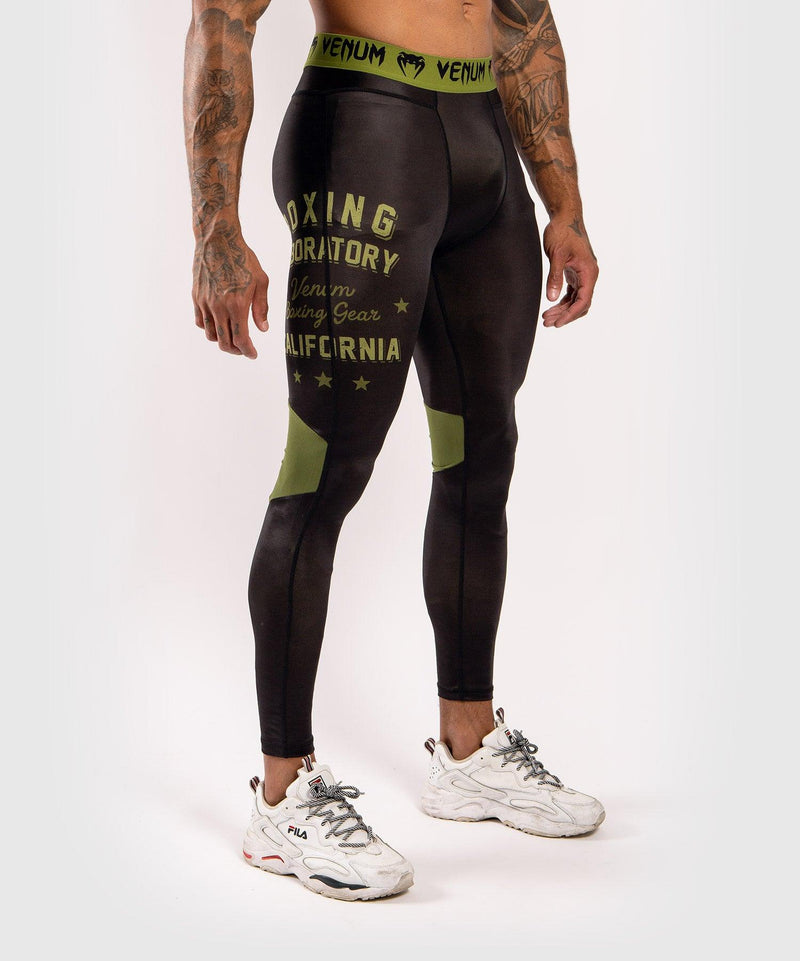 Venum Boxing Lab Compression Tights - Black/Green picture 3