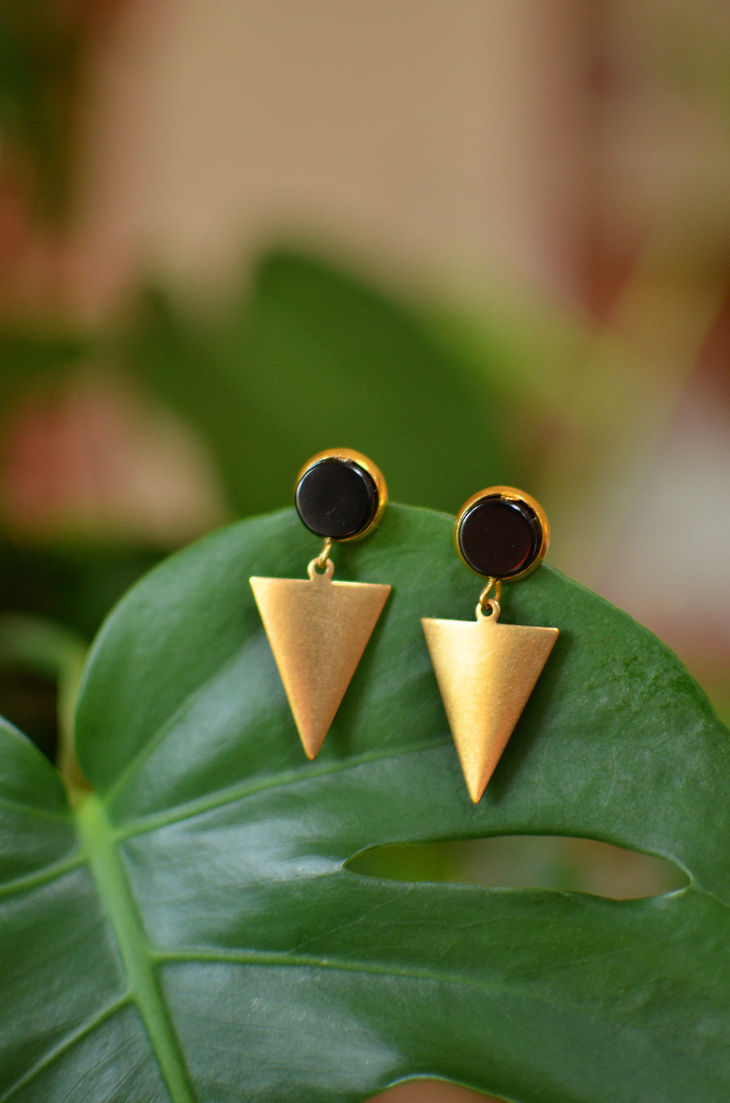 She's So Sophisticated Studs - Black Cabochon and Raw Brass Triangle Dangle Earring Studs