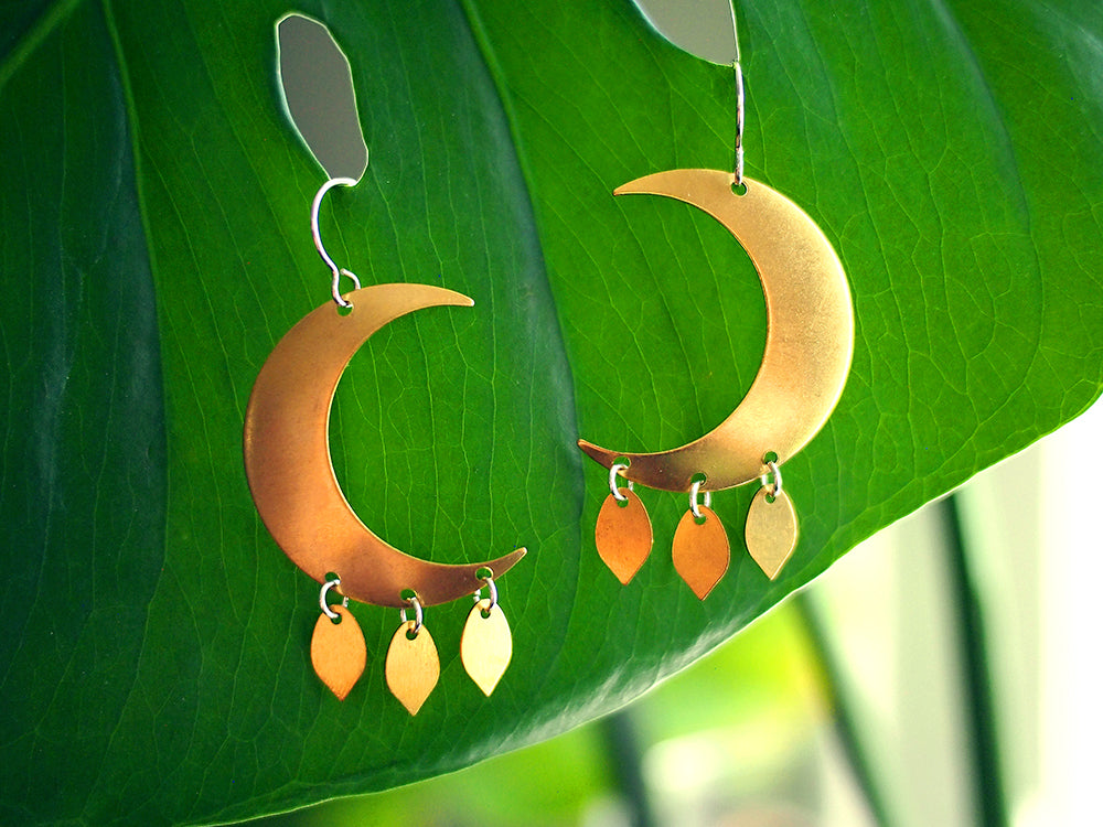 By the Light of the Moon Earrings - Raw Brass Crescent Moon Chandelier Dangle Earrings with Sterling Silver Ear Wires