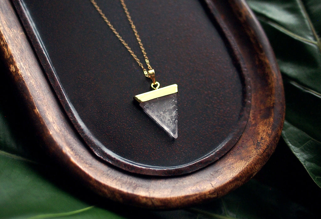 Trinity of Zen Crystal Triangle Gold Necklace - Clear Crystal Quartz Triangle Pendant on a 14 kt Gold-Filled Fine Chain Jewelry