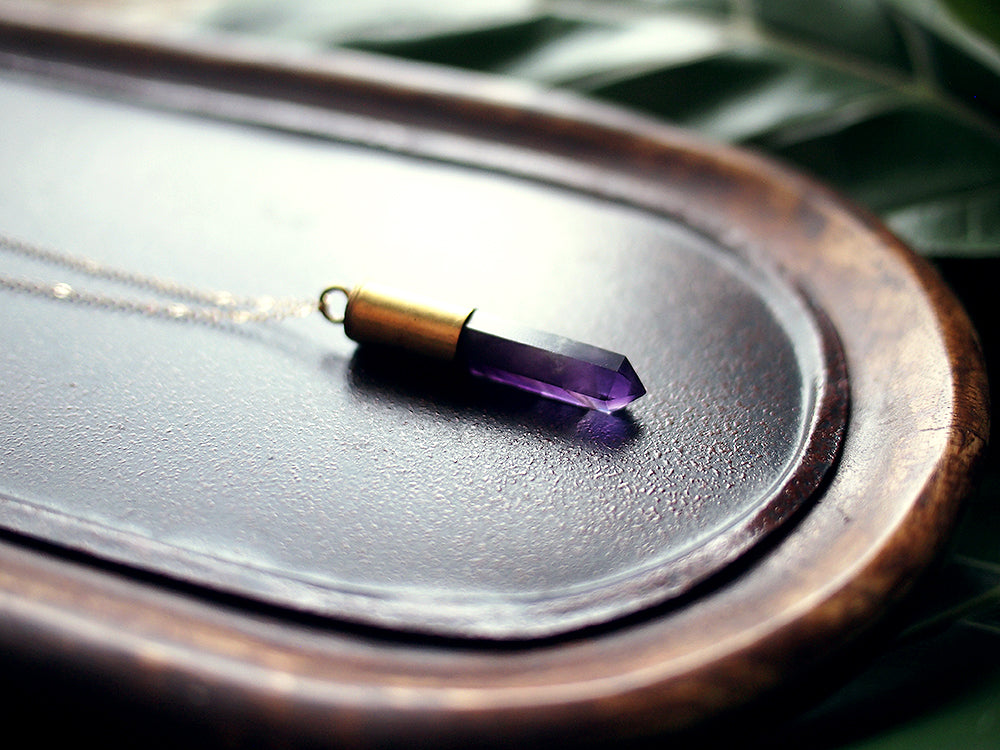 Into the Mystic Amethyst Gold Necklace - Purple Amethyst Bullet Crystal Pendant on a 14 kt Gold-Filled Fine Chain Jewelry