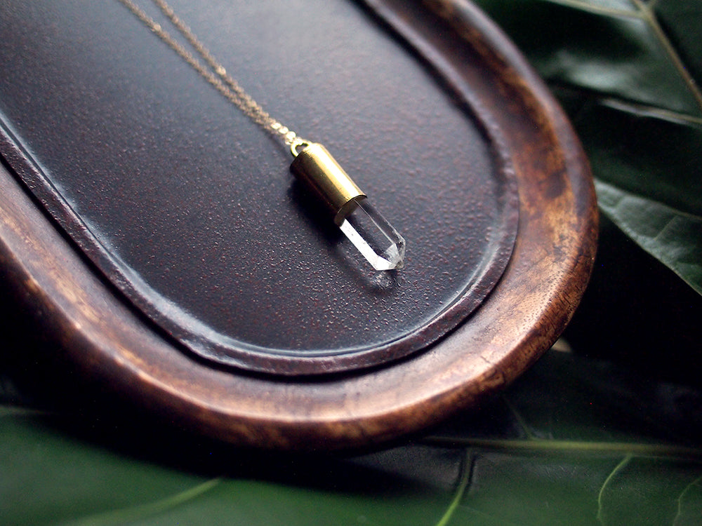 "Radiant Being Crystal Bullet Necklace - Clear Crystal Quartz Bullet Pendant on 18"" 14 kt Gold-Filled Chain"