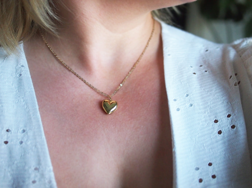 "Heart of Gold Necklace - 18kt Gold Plated Heart Pendant on an 18"" 14kt Fine Gold Filled Necklace Chain"