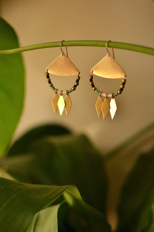 urban goddess. one pair modern brass shield & turquoise seed bead dangle earrings.