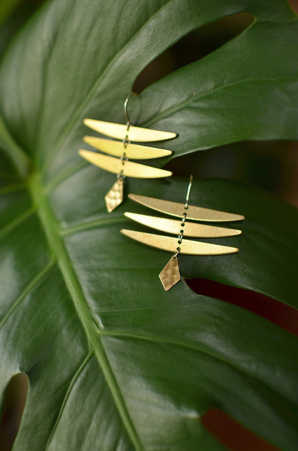 desert queen. one pair modern raw brass minimalist dangle earrings. dragonfly.