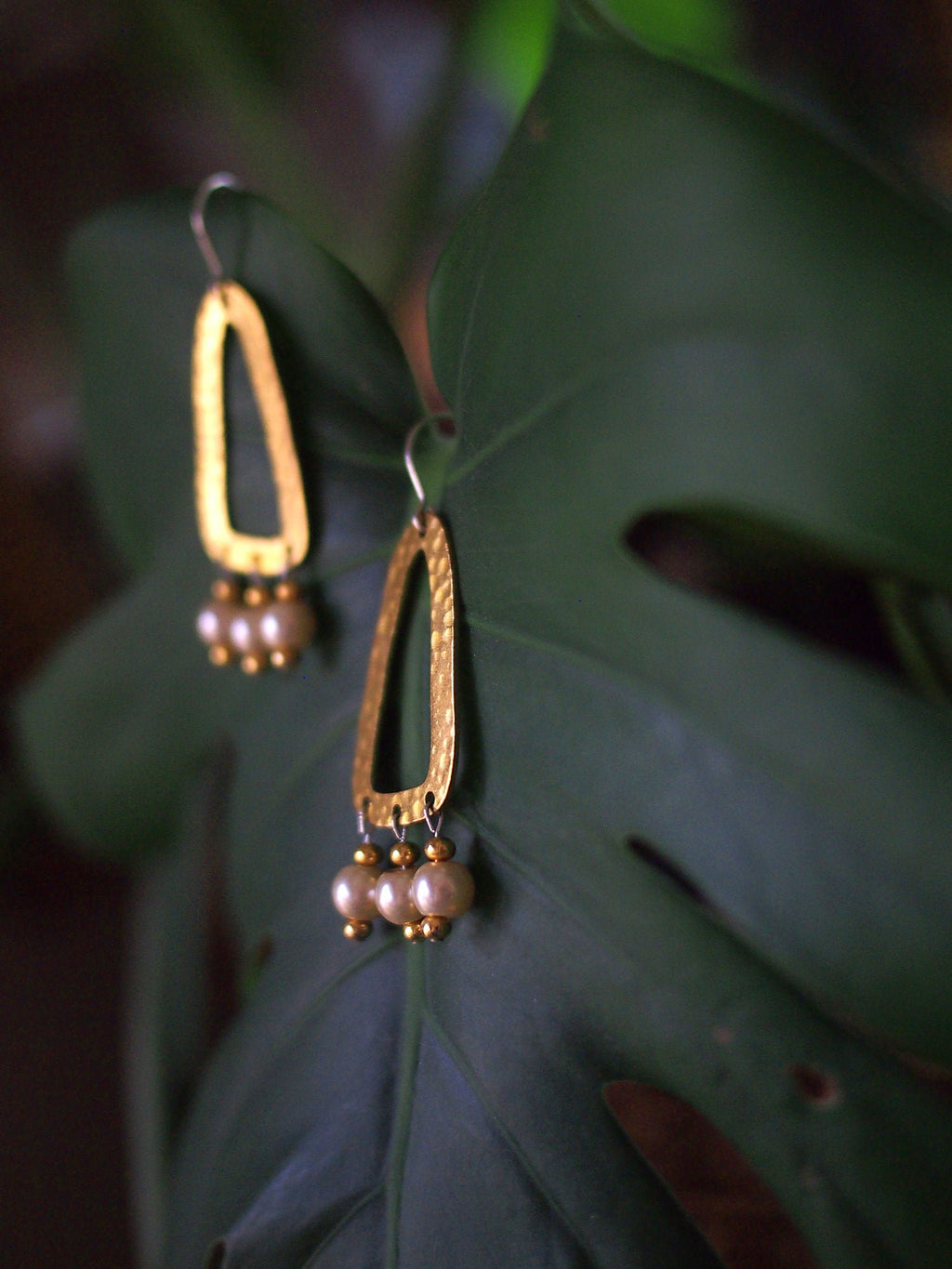 The Empress' Pearls Earrings - Hammered brass shape dangle earrings beaded with pearl & gold seed bead drops.