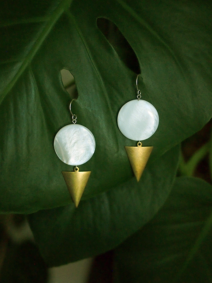Full Moon Rising Earrings - Mother of Pearl Shell Coin and Raw Brass Triangle Dangle Earrings with Sterling Silver Ear Wires
