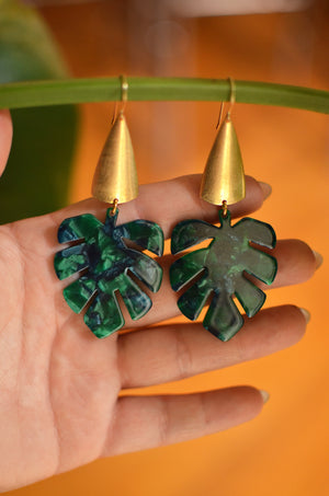 Green with Envy Monstera Leaf Earrings - Raw Brass and Green Acetate Monstera Leaf Dangle Earrings with Sterling Silver Earwires