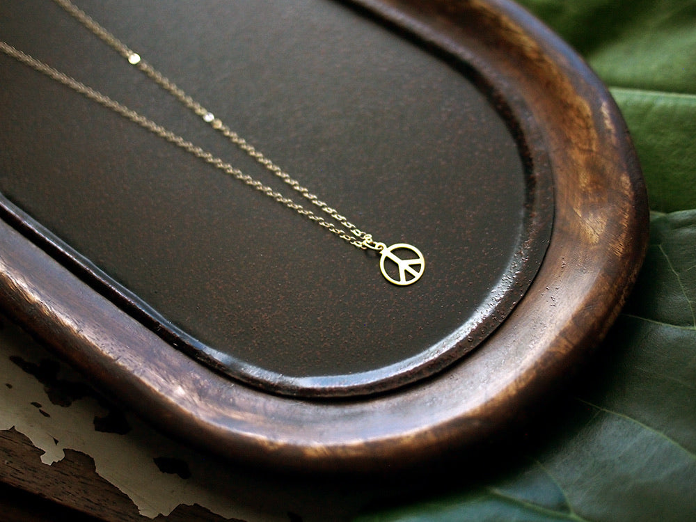 Blessed are the Peacemakers Necklace - 18kt Gold Plated Peace Sign Pendant on Fine 14kt Gold Filled Chain