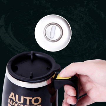 Auto Sterring Coffee mug Stainless Steel Magnetic Mug Cover Milk Mixing Mugs