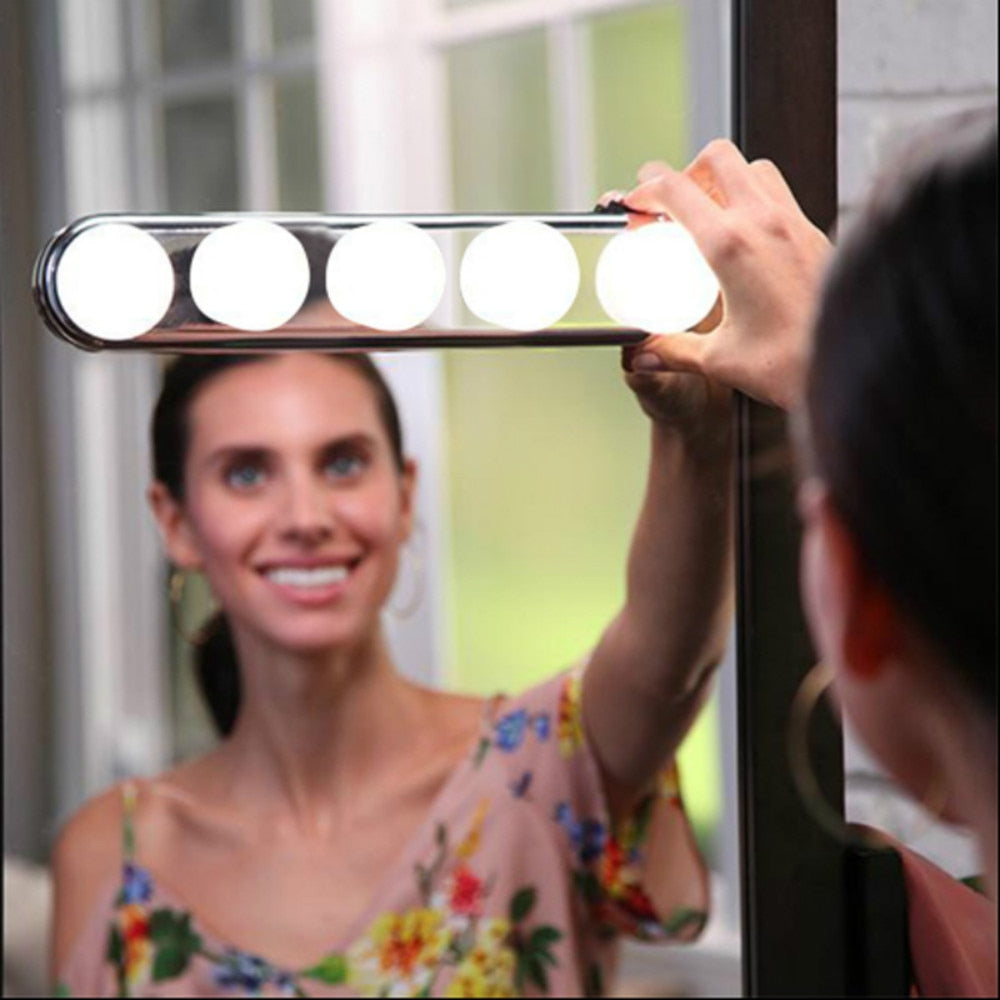 Makeup Vanity Cabinet Mirror Lights Make Up Light Super Bright 5 LED Bulbs Portable Cosmetic Mirror Light Battery Powered Lamp