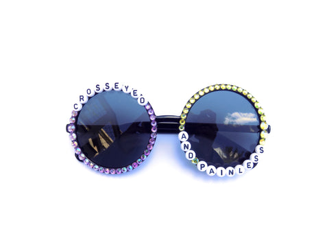 """Asymmetrical """"Crosseyed and Painless"""" design on oversized round frames"""