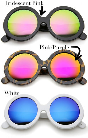 Oversized round frames. Color selections: iridescent pink, pink/purple, or white