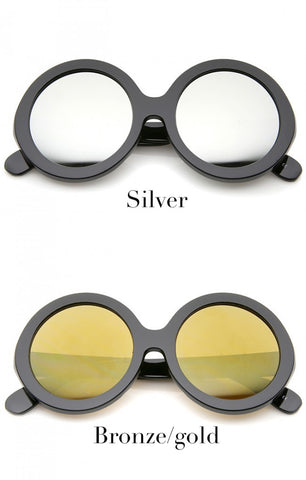 Oversized round frames. Color selections: silver or bronze/gold