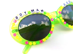 BOY MAN GOD SHIT decorated sunnies