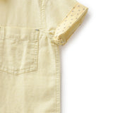 Boys Solid Linen Half Sleeve Shirt AW19-KF-BKT-17022 Yellow