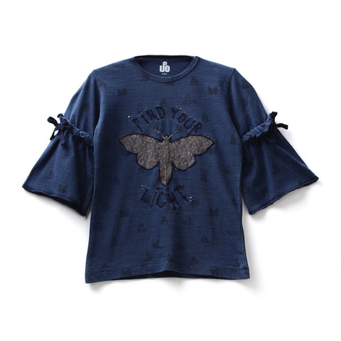 Girls Cotton Knit Half Sleeve Top AW19-KF-GK-15006 Navy