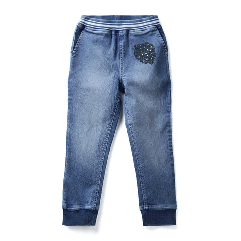 Girls Solid Denim Jogger AW19-NDF-GKT-15065 Blue