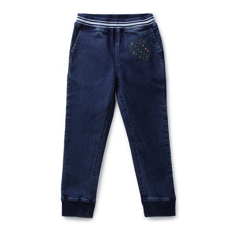 Girls Solid Denim Joggers AW19-NDF-GKT-15065 Navy