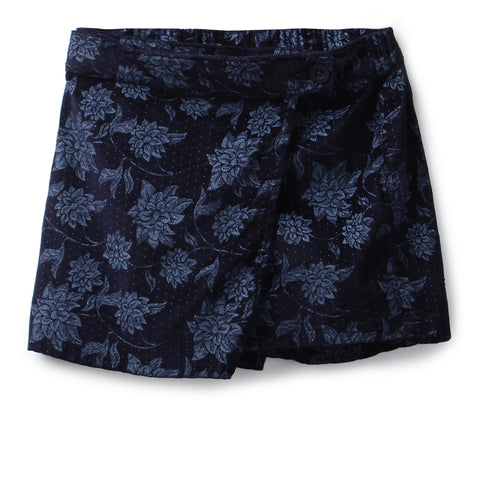 Girls Cotton Printed Shorts AW19-NDF-GKT-15074 Navy