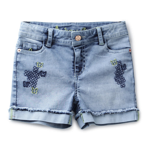 Girls Solid Denim Shorts with Front Embroidery AW19-NDF-GKT-15098 Blue