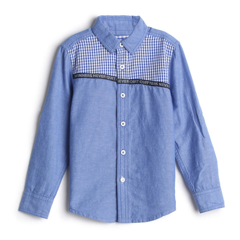 Boys Brushed Twill Full Sleeve Shirt with Y/d Check @ Front Yoke AW19-WF-BKT-14021Blue