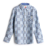 Boys YD Patchwork Plaid Full Sleeve Shirt AW19-WF-BKT-14031 Blue
