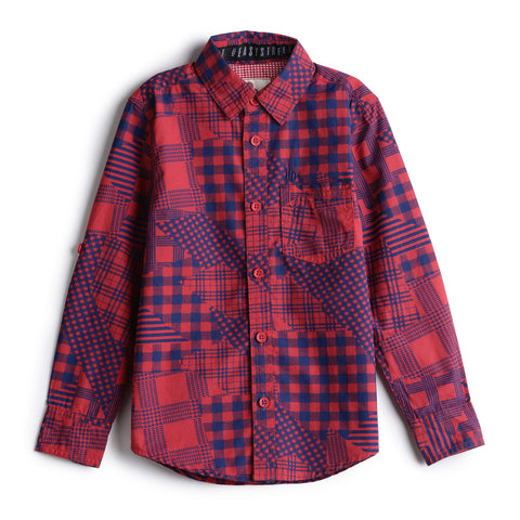 Boys Cotton Print Full Sleeve Shirt  AW19-WF-BKT-14033 Red