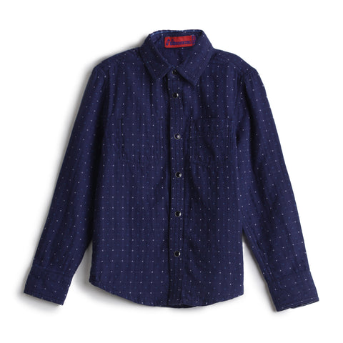 Boys YD Check & Dotted Double Sided Full Sleeve Shirt AW19-WF-BKT-14037 Navy