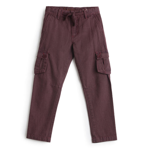 Boys Solid Cargo Full Pant AW19-WF-BKT-14053 Brown