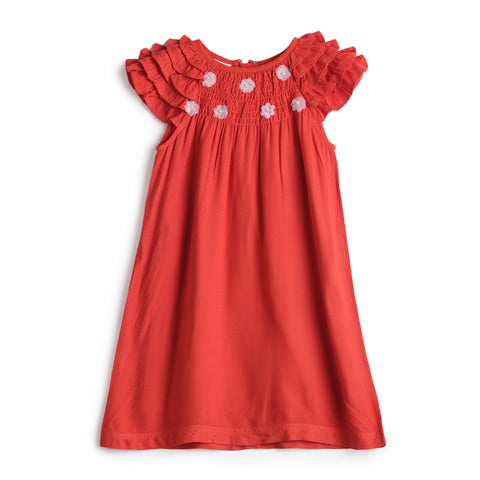 Girls Solid Dot Dobby Dress AW19-WF-GKT-15021 Orange