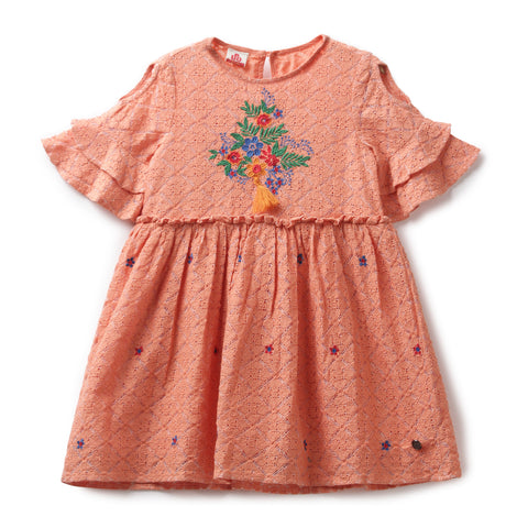 Girls Lace Half Sleeve Dress AW19-WF-GKT-15047 Peach