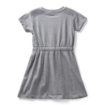 Girls Cotton Knit Half Sleeve Dress With Sequins AW19-WF-GKT-15049 Grey