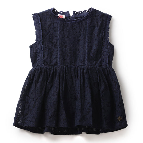 Girls Solid Cotton Lace Cap Sleeve Tops AW19-WF-GKT-15096 Navy
