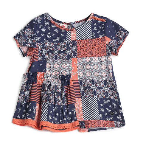 Girls Cotton Print Half Sleeve Tops AW19-WF-GKT-15100 Red