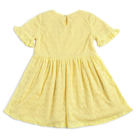 Girls Cotton Lace Half Sleeve Dress AW19-WFP-GK-15033 Yellow