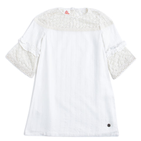 Girls Lace With Dobby 3/4 Sleeve Dress AW19-WFP-GK-15037 Off White