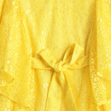 Girls Lace Cap Sleeve Dress AW19-WFP-GK-15040 Yellow