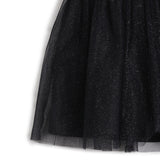 Girls Glitter Mesh with Solid Melange Dress AW19-WFP-GK-16114 Black