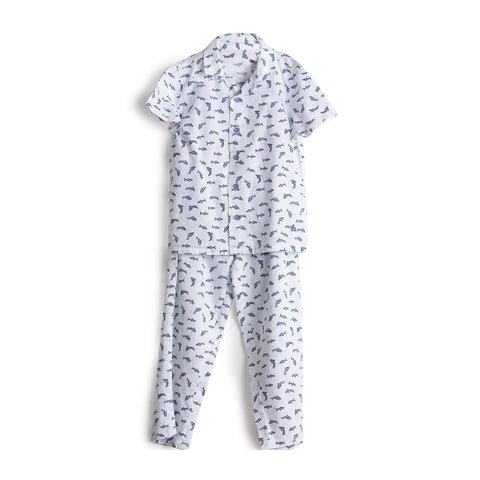 AW19-WN-BKT-10071 WHITE 100% COTTON FLORAL PRINTED UNISEX NIGHT SUIT