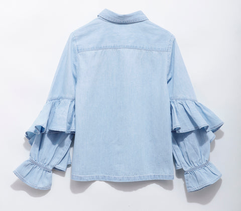 Girls Solid Denim With Full Sleeve Top SS-20-WF-GKT-20004 Blue