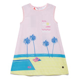 Girls Cotton Printed Sleeveless Dress SS-20-WR-GKT-18026 Pink