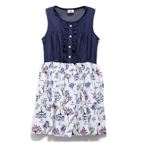 Girls Cotton Printed With Denim yoke, Sleeveless Dress SS-20-WR-GKT-20019 Blue