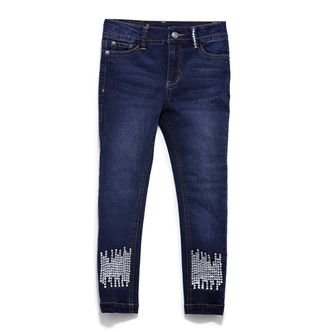 Girls Solid Denim Full Pant SS20-DF-GKT-18069 Navy