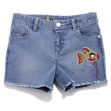 Girls Solid Denim Shorts SS20-DF-GKT-18074 Blue