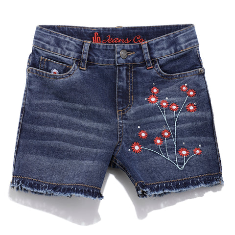 Girls Solid Denim Shorts SS20-DF-GKT-18075 Navy