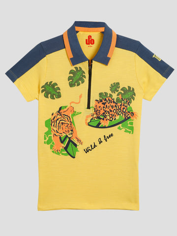 Boys Printed Half Sleeve T-Shirt SS20-KF-BKT-17026 Yellow