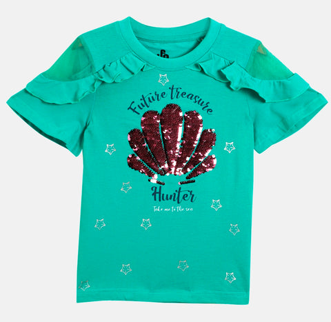 Girls Solid Knit Top With Sequins SS20-KF-GKT-18010 Gren