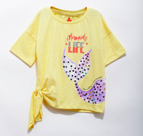 Girls Cotton Knit Half Sleeve Knit Top With Sequins SS20-KF-GKT-18011 Yellow